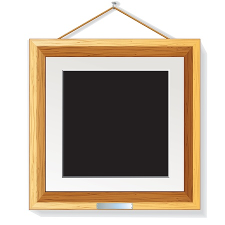 Modern Wooden Photo Frame on the Wall.  Vector