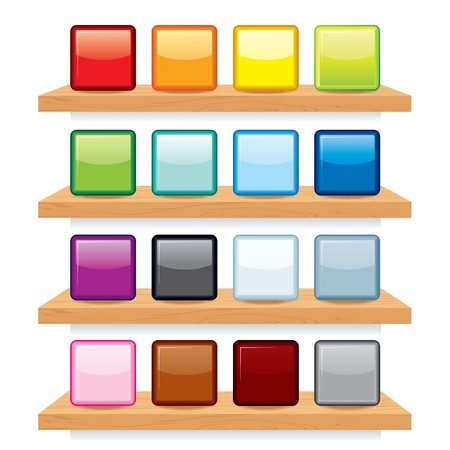 Multicolored Icons on Wood Shelf Display. Vector