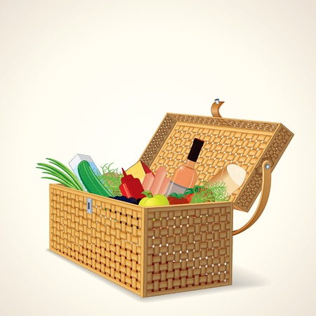 Picnic Basket with Fruit, Vegetables, Wine and Bread. Stock Vector - 21068070