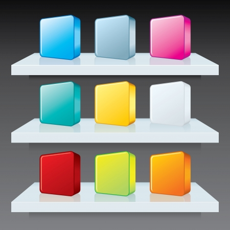 Colorful Box Icons on Shelves. Advertising Template Vector