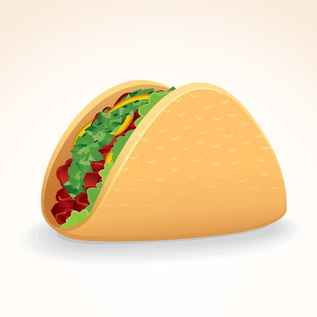 fast foods: Fast Food Icon. Crisp Taco Shell with Beef and Vegetables
