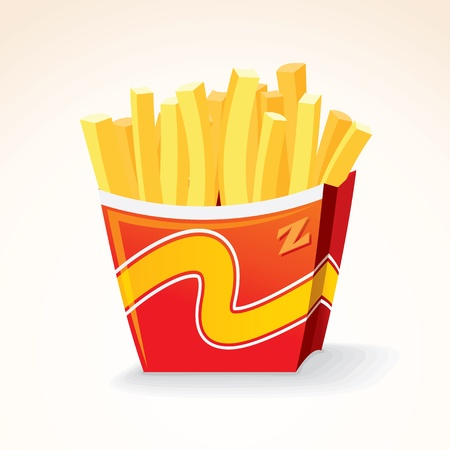 Fast Food Icon. French Fries Potato in Bucket. Vector