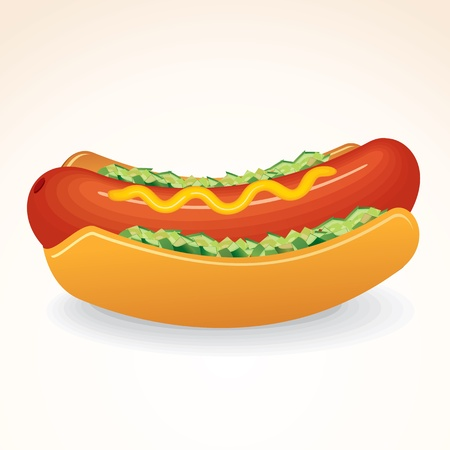 hotdog: Fast Food Icon. Tasty Hot Dog Sandwich with Mustard and Relish