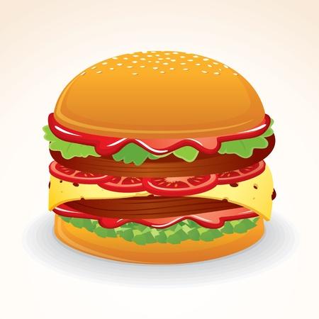 cartoon menu: Fast Food Icon. Big Double Hamburger with Cheese, Tomato and Relish Illustration