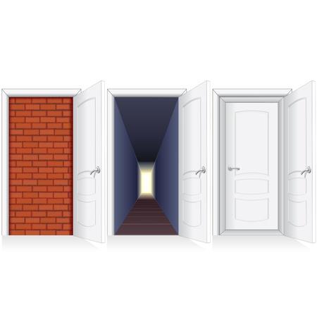 double entry: Behind Open Door. Opened White Door to the Brickwall, Hallway and Secon Door. Illustration