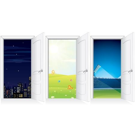 Hinter Open Door. Eröffnet White Door to Nature, City, Arena, Ziegelmauer und Flur.