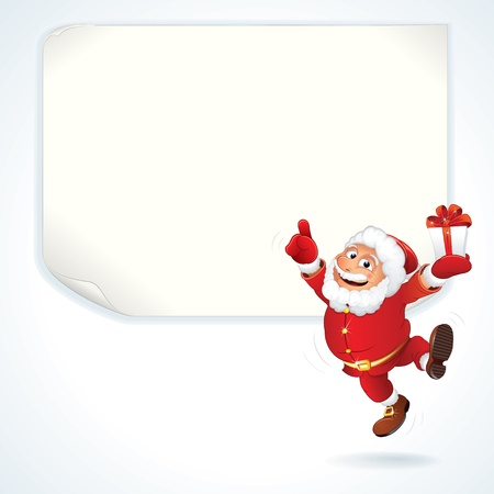 Jolly Santa Claus Pointing at the Blank Sale Sign. Christmas Series Vector