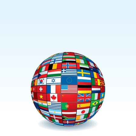 Globe Made from World Flags. Isolated on White Background. Vector