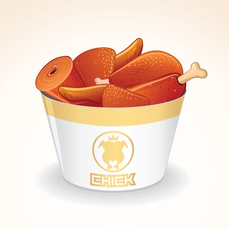Fast Food Icon. Bucket of Fried Chicken Pieces Vector