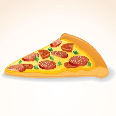 ファーストフードのアイコン。ペパロニのピザのスライス  イラスト・ベクター素材