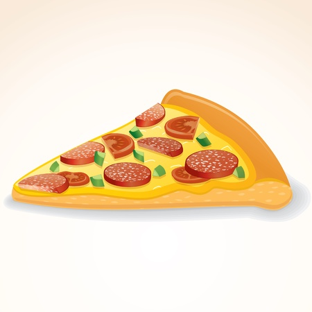 Fast Food Icon. Slice of Pepperoni Pizza Vector