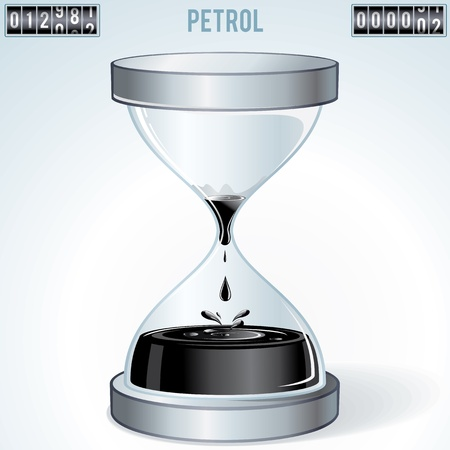 unsustainable: Oil Industry Concept. Petroleum Flowing Inside Hourglass. Vector Image