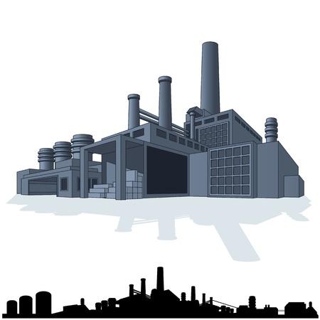 抽象的な工場のイラスト。3D ベクトルのアイコン