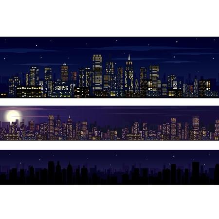 도시의 스카이 라인. 밤 스카이 라인 삽화의 컬렉션