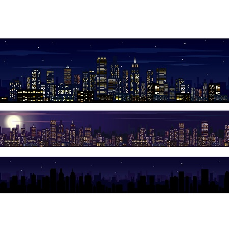 City Skyline. Collection of Night Skyline Illustrations Vector