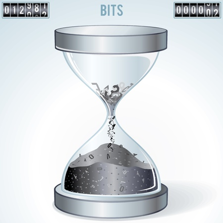 hour glass: Technology Concept. Number Symbols Falling Inside Hourglass