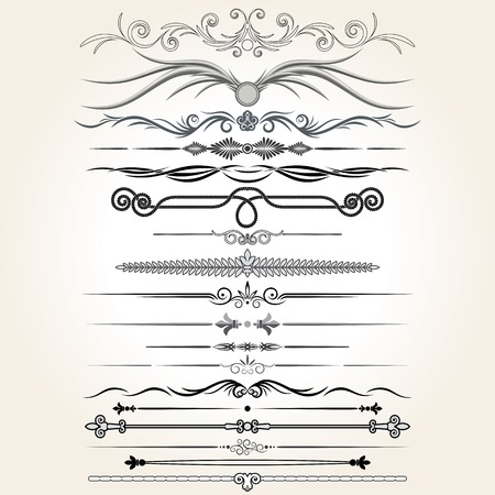 Decorative Rule Lines. Vector Design Elements, Ornaments. Ilustração