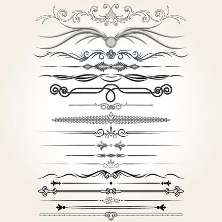 Decorative Rule Lines. Vector Design Elements, Ornaments. Illustration