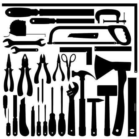 Silhouettes of Work Tools, Instruments. Vector Clip Art Vector