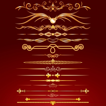 Collection of Golden Rule Lines. Vector Design Elements, Ornaments. Stock Vector - 22387359