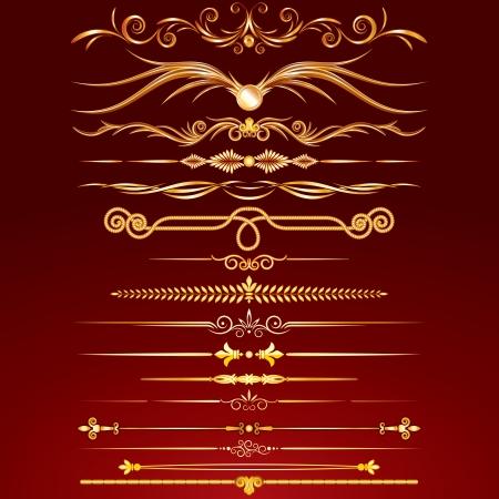 Het verzamelen van Golden Rule Lines. Vector Design Elements, Ornaments.