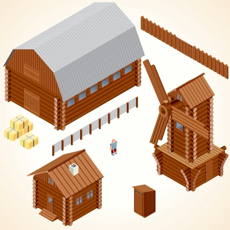 Isometric Wooden Houses. Log Cabin, Wood Windmill, Rustic Outhouse, Farm Barn. Vector Clip Art Vector