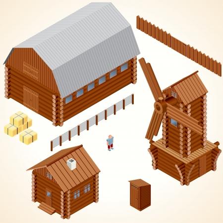 Isometrici case di legno. Log Cabin, Mulino a vento di legno, Gabinetto esterno Rustico, Farm Barn. Vettore ClipArt