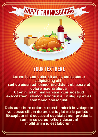 cartoon dinner: Thanksgiving Day. Vertical Retro Background Template. Vector Illustration