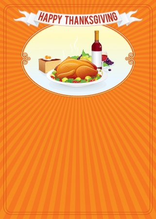 thanksgiving food: Thanksgiving Day. Vertical Background Template. Vector Illustration