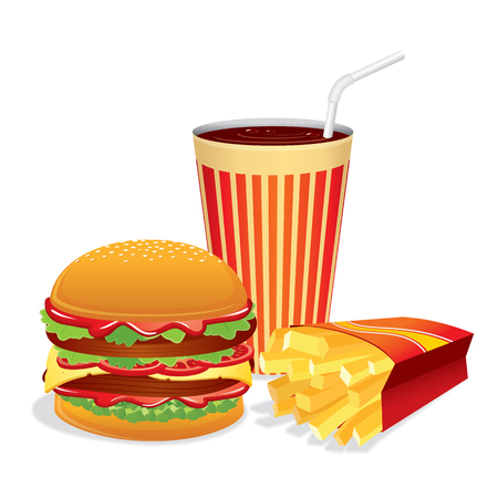 prepared potato: Fast Food Collage. Vector Illustration Illustration