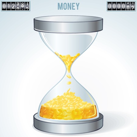 waste money: Time is Money. Gold Coins Flowing Inside Hourglass. Financial Concept
