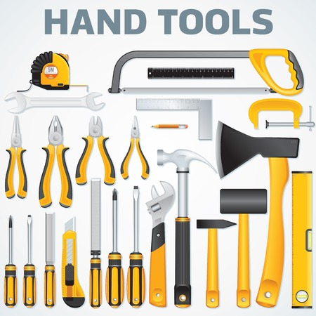 woodwork: Vector Icons of Modern Hand Tools. Instruments Collection for Metalwork, Woodwork, Mechanical and Measuring Works. Illustration