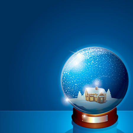 snowdome: Glass Dome with Christmas Winter Scene, Wooden House and Pine Tree Forest.