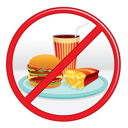 förbjuda: Ingen snabbmat, förbud Sign. Vector Label. Illustration