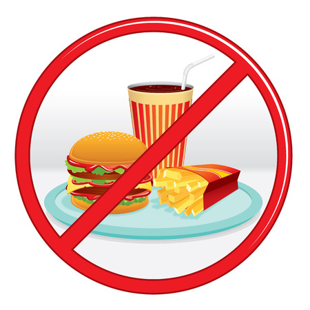 forbid: No Fast Food, Prohibition Sign. Vector Label.