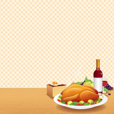 turkey thanksgiving: Pavo asado adornado en la mesa decorada con vino, frutas y pastel. Ilustraci�n vectorial