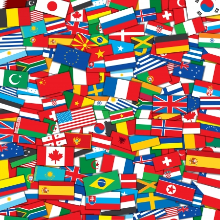 Achtergrond van Various World Flags. EPS10 Vector Design Template Stock Illustratie