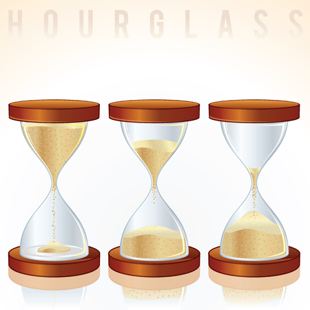 Vintage Hourglass. Three Different States. Vector Graphics Vector