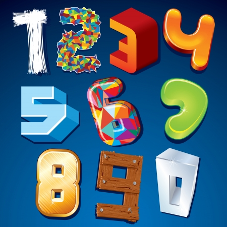 trigram: Numeral in Various Styles. Vector Design Elements