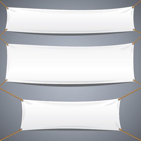 흰 섬유 배너. 귀하의 텍스트 및 디자인을위한 벡터 템플릿 준비.