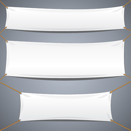 nylon string: White Textile Banners. Vector Template Ready for Your Text and Design.