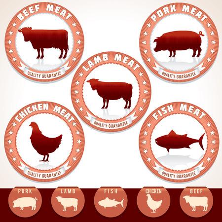 Etiquetas de la carne retro. Etiqueta con ilustraciones de carne de cerdo, carne de res, pollo, cordero y atún. Vector Set. Ilustración de vector