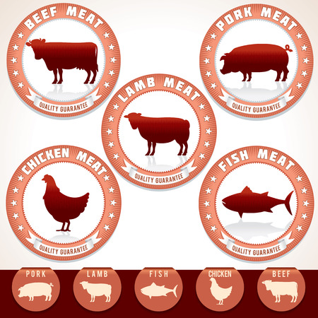 Retro Meat Labels. Label with Illustrations of Pork, Beef, Chicken, Lamb and Tuna. Vector Set.
