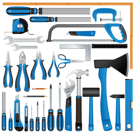 rasp: Construction Tool Icons. Screwdrivers, Knives, Rulers, Hammers, Pliers, Files etc. Vector Set Illustration