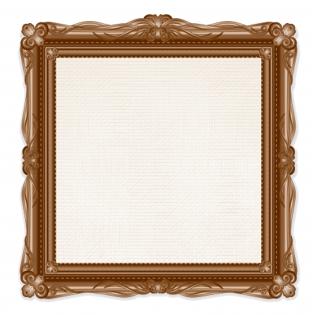 gold picture frame: Vintage Picture Frame Isolated on White Background. Vector