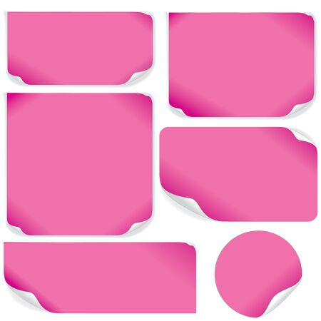 Isolated Pink Paper Sheets. Vector Pack. Ready for Your Text and Design. Vector