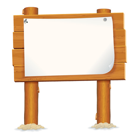 Wooden Billboard Sign. Paper Poster with Blank Space for Your Text and Design. Illustration