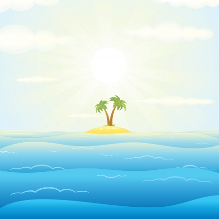 Seascape with Tropical Island. Vector Cartoon Illustration Stock Vector - 22914807