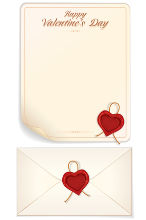 poem: Valentines Day, Love Letter Template with Heart Shaped Seal. Vector Eps10 Design Ready for Your Text, Design and Print.