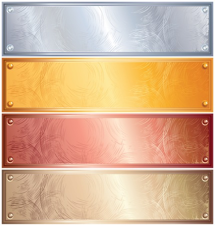 Various Metallic Plates with Rivets. Golden, Silver, Bronze and Copper photo